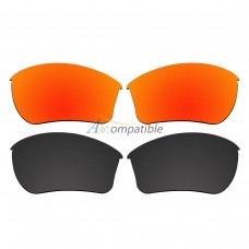 Replacement Polarized Lenses for Oakley Half Jacket 2.0 XL 2 Pair Combo (Fire Red Mirror, Black)