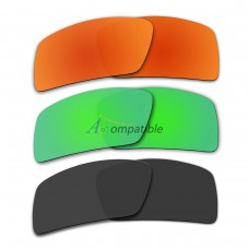 Lenses for Oakley Eyepatch 2 3 Pair Color Combo (Fire Red Mirror, Emerald Green Mirror, Black)