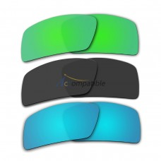 Lenses for Oakley Eyepatch 2 3 Pair Color Combo (Emerald Green Mirror, Black Color, Ice Blue Mirror)