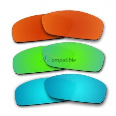 Lenses for Oakley Hijinx 3 Pair Color Combo (Fire Red Mirror, Emerald Green Mirror, Ice Blue Mirror)