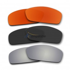 Lenses for Oakley Hijinx 3 Pair Color Combo (Fire Red Mirror, Black Color, Silver Mirror)