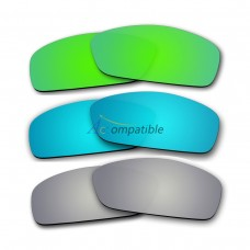 Lenses for Oakley Hijinx 3 Pair Color Combo (Emerald Green Mirror, Ice Blue Mirror, Silver Mirror)