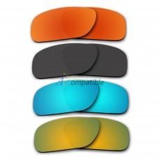 Polarized Lenses for Oakley Holbrook 4 Pair Color Combo (Fire Red Mirror, Black, Ice Blue Mirror, Gold Mirror)