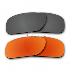 Polarized Lenses for Oakley Holbrook 2 Pair Combo (Grey, Fire Red Mirror)