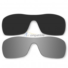 Polarized Lenses for Oakley Antix 2 Pair Color Combo (Black Color, Silver Mirror)