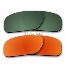 Polarized Lenses for Oakley Holbrook 2 Pair Combo (Green,Fire Red Mirror)