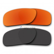 Polarized Lenses for Oakley Holbrook 2 Pair Combo (Fire Red Mirror,Black)