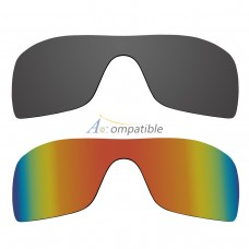 Polarized Lenses for Oakley Batwolf 2 Pair Combo (Grey, Fire Red Mirror)