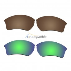 Replacement Polarized Lenses for Oakley Half Jacket 2.0 XL 2 Pair Combo (Bronze Brown, Emerald Green)
