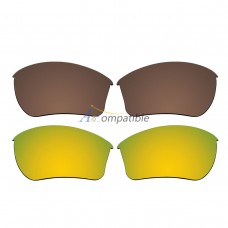 Replacement Polarized Lenses for Oakley Half Jacket 2.0 XL 2 Pair Combo (Bronze Brown, Gold)