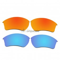 Replacement Polarized Lenses for Oakley Half Jacket 2.0 XL 2 Pair Combo (Fire Red Mirror, Blue)