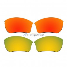Replacement Polarized Lenses for Oakley Half Jacket 2.0 XL 2 Pair Combo (Fire Red Mirror, Gold)