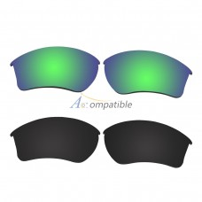 Replacement Polarized Lenses for Oakley Half Jacket 2.0 XL 2 Pair Combo (Emerald Green, Black)