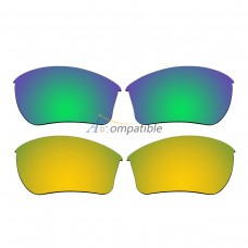 Replacement Polarized Lenses for Oakley Half Jacket 2.0 XL 2 Pair Combo (Emerald Green, Gold)