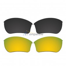 Replacement Polarized Lenses for Oakley Half Jacket 2.0 XL 2 Pair Combo (Black, Gold)