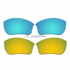 Replacement Polarized Lenses for Oakley Half Jacket 2.0 XL 2 Pair Combo (Blue, Gold)