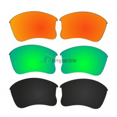 Polarized Lenses for Oakley Flak Jacket XLJ 3 Pair Combo (Fire Red Mirror, Amber Green Mirror, Black)