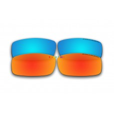 Polarized Replacement Sunglasses Lenses for Spy Optics Cooper 2 Pair Combo (Ice Blue Mirror, Fire Red Mirror)