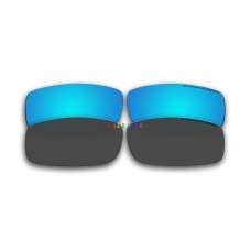 Polarized Replacement Sunglasses Lenses for Spy Optics Cooper 2 Pair Combo (Ice Blue Mirror, Black)