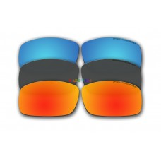 Polarized Replacement Sunglasses Lenses for Spy Optics Cooper XL 3 Pair Combo (Fire Red Mirror, Black, Ice Blue Mirror)