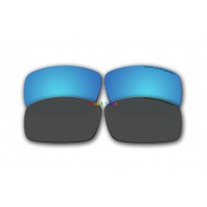 Polarized Replacement Sunglasses Lenses for Spy Optics Cooper XL 2 Pair Combo (Ice Blue Mirror, Black)